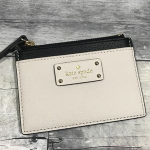 Kate Spade Adi Black and Cream Card Case wallet